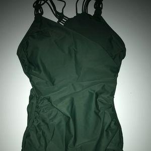 Wrap Front 1Pc Swimsuit w/Crochet Straps